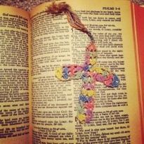 bible and cross bookmark