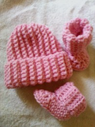Ribbed Baby Beanie and Booties